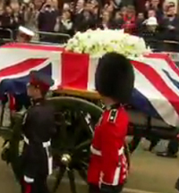 Thousands line the route for funeral of Baroness Thatcher
